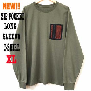 スラッシャー(THRASHER)の新品 ジップポケット ヘビーウェイト ロンT  モスグリーン カーキ XL相当(Tシャツ/カットソー(七分/長袖))