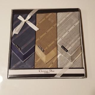 クリスチャンディオール(Christian Dior)のクリスチャン・ディオール メンズハンカチ 3枚セット(ハンカチ/ポケットチーフ)