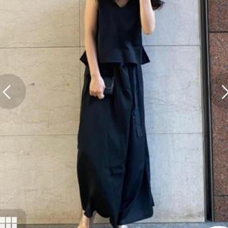 リエンダ(rienda)のrienda ラッピングワイドパンツ 定価8,778円 Sサイズ 黒(カジュアルパンツ)