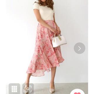 デュラス(DURAS)のアンビエント ピンク 斜めカット スカート 美品(ひざ丈スカート)