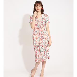 アーモワールカプリス(armoire caprice)の美品♪2020アーモワールカプリス ピンク花柄ワンピースFASフランス(ひざ丈ワンピース)