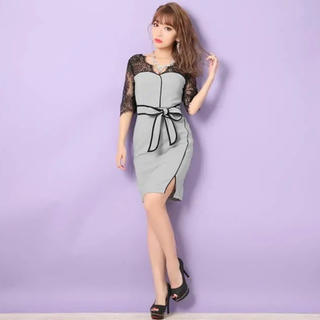 dazzy store - 袖付き透けレースウエストリボンタイトミニドレス