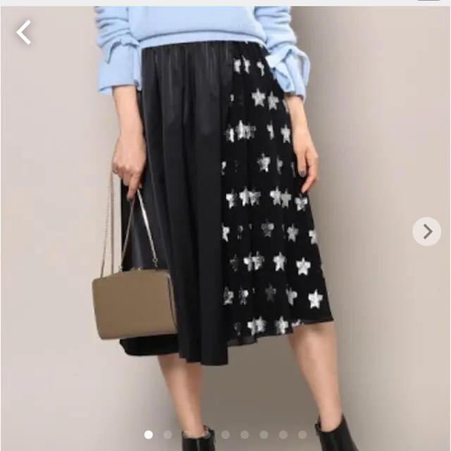 ROPE(ロペ)の【ロペ マドモアゼル】スカート ひざ丈 黒 星柄 スター ROPE ブラック レディースのスカート(ひざ丈スカート)の商品写真