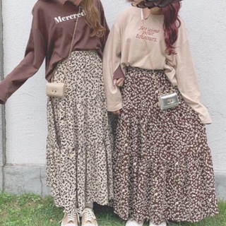 heather - ヘザー レオパードロングスカート&ロゴT