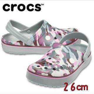 クロックス(crocs)の新品 26㎝ クロックス クロックバンド プリンテッド クロッグ ライトグレー(サンダル)
