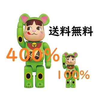 メディコムトイ(MEDICOM TOY)のBE@RBRICK 招き猫 ペコちゃん 蛍光グリーン  400% & 100%(その他)
