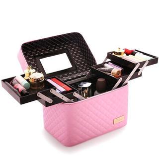 鏡付きメイクボックス コスメボックス 大容量 化粧品収納 ピンク メイク 化粧(メイクボックス)