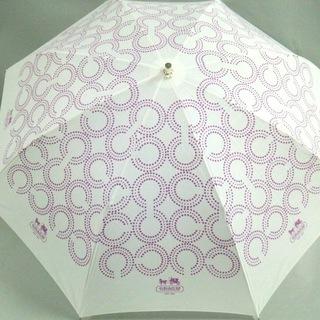 コーチ(COACH)のコーチ 日傘 - 白×パープル 化学繊維(傘)
