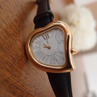 サンローラン(Saint Laurent)のレア イヴサンローラン 腕時計 ハート ゴールド レディース レザー ブラック(腕時計)