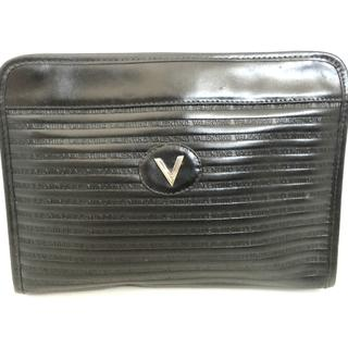 ヴァレンティノ(VALENTINO)のバレンチノ セカンドバッグ 黒 レザー(セカンドバッグ/クラッチバッグ)