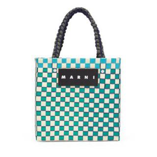マルニ(Marni)のMARNI マルニ ジャージーハンドル ピクニックバックミニ グリーン 完売品(かごバッグ/ストローバッグ)