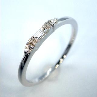 K18WG ホワイトゴールド 0.10ct シンプル ダイヤモンド リング 指輪(リング(指輪))