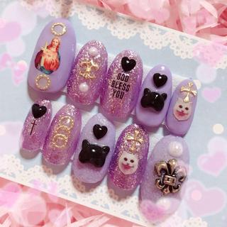 ジーザスネイル♡量産型ネイルチップ♡紫ラメ×シュガーパウダー