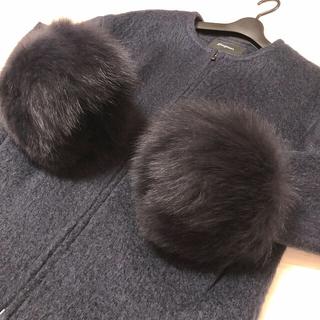 グレースコンチネンタル(GRACE CONTINENTAL)のボリューム満点❗️FOXファー付きノーカラーシャギージャケット 万能カラー✨(毛皮/ファーコート)