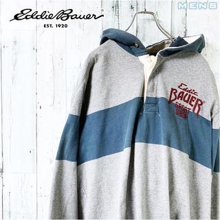 エディーバウアー(Eddie Bauer)の激レア Eddie Bauer フード付き ピン ボーダー ラガーシャツ XL(パーカー)