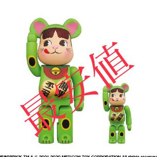 BE@RBRICK 招き猫 ペコちゃん 蛍光グリーン 100% & 400%(その他)