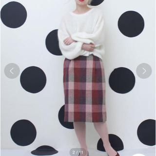 ドットアンドストライプスチャイルドウーマン(Dot&Stripes CHILDWOMAN)のりの様専用ネップヤーンブロックチェック タイトスカート(ひざ丈スカート)