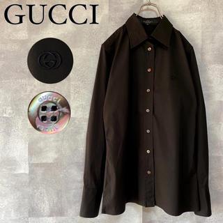 グッチ(Gucci)の【美品】GUCCI インターロッキング ワンポイント 刺繍 ロゴ ドレスシャツ(シャツ/ブラウス(長袖/七分))