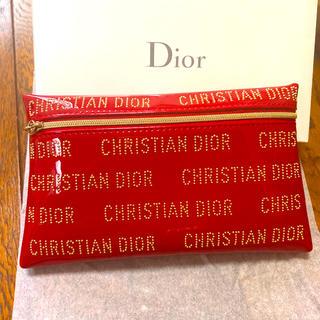 Christian Dior - クリスチャンディオール オリジナル レッド ゴールド ポーチ 新品未使用