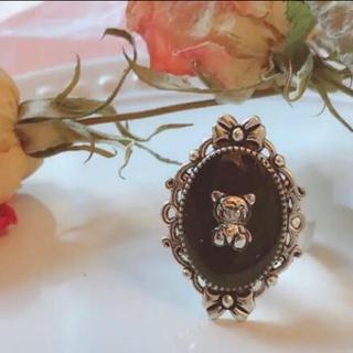 ブラックくまちゃんリング♡フリーサイズ 地雷 メンヘラ 量産型 ジャニオタ ロリ(リング(指輪))
