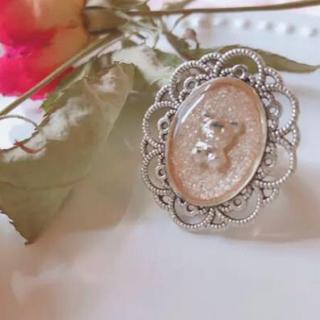 ライトベージュラメくまちゃんリング♡ 量産型 地雷 ジャニオタク ロリ アンク(リング(指輪))