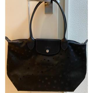ロンシャン(LONGCHAMP)の♡新品未使用♡Longchamp肩がけトートS 限定星柄ブラック(トートバッグ)
