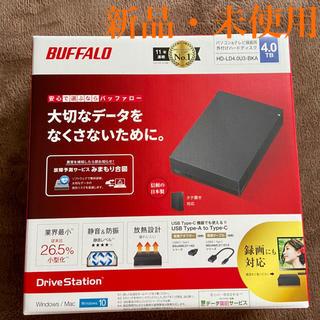 バッファロー(Buffalo)の【未使用品】BUFFALO HD-LD4.0U3-BKA 外付けHDD 4TB(PC周辺機器)