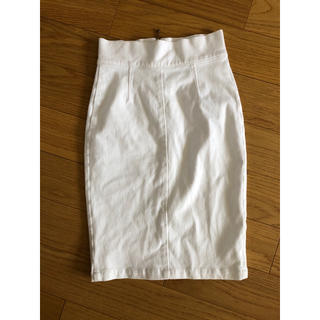 デュラス(DURAS)のタイト スカート デュラス ホワイト 白 ハイウエスト(ひざ丈スカート)