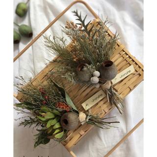 秋の暮らしを彩る ベルガムナッツが可愛らしい 手のひら スワッグ ドライフラワー(ドライフラワー)