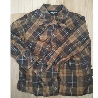 コムサイズム(COMME CA ISM)のボータイ付きチェックシャツ女の子90cm(ブラウス)