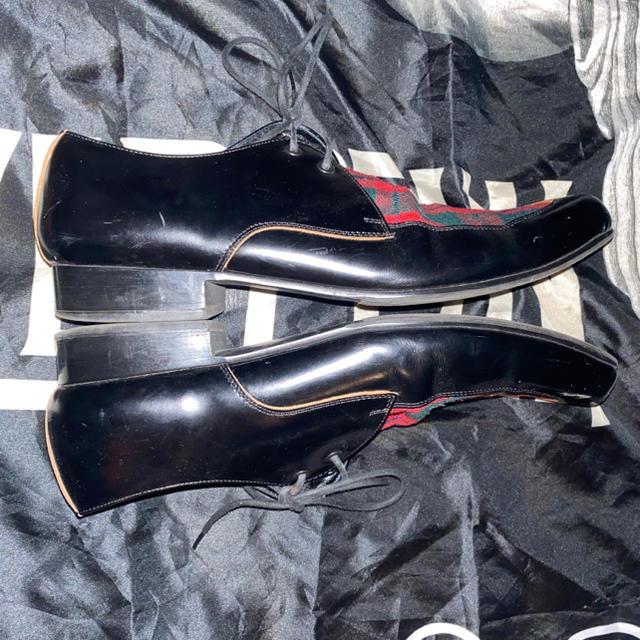 COMME des GARCONS(コムデギャルソン)のコムデギャルソン オム プリュス チェック 切替 ドレス ローファー 古着  メンズの靴/シューズ(ドレス/ビジネス)の商品写真