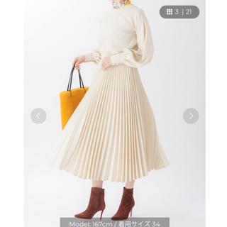 ツルバイマリコオイカワ(TSURU by Mariko Oikawa)のTSURU by MARIKO OIKAWA プリーツスカート ホワイト 36(ロングスカート)