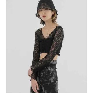マウジー(moussy)のFEKETE Vネック レース シースルー 黒 ブラック 韓国 韓国ファッション(シャツ/ブラウス(長袖/七分))