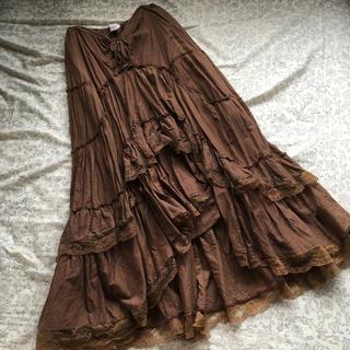 サンタモニカ(Santa Monica)の【美品】vintage ヴィンテージ レースティアードロングスカート 茶色(ロングスカート)