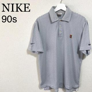 ナイキ(NIKE)の★美品★90s NIKE ポロシャツ メンズM ボーダー 白 紺 テニス 銀タグ(ポロシャツ)