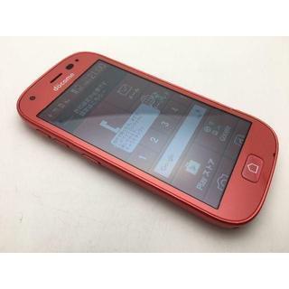 フジツウ(富士通)のSIMフリー ドコモ らくらくスマートフォン4 F-04J レッド美品323(スマートフォン本体)