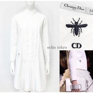 クリスチャンディオール(Christian Dior)のディオール《BEE刺繍》ノーカラー シャツ ワンピース E1465(ひざ丈ワンピース)
