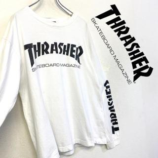 スラッシャー(THRASHER)の美品 THRASHER 長袖Tシャツ デカロゴ ロンT  メンズM ホワイト(Tシャツ/カットソー(七分/長袖))