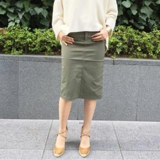 ドゥーズィエムクラス(DEUXIEME CLASSE)のDeuxieme Classe セイヒンゾメタイトスカート 38 カーキ(ひざ丈スカート)