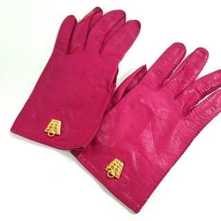 セリーヌ(celine)のセリーヌ 手袋 レディース ピンク レザー(手袋)