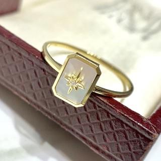 天然ダイヤモンド付き白シェルリングk18(リング(指輪))
