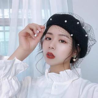 パールレースベレー帽 ブラック(ハンチング/ベレー帽)