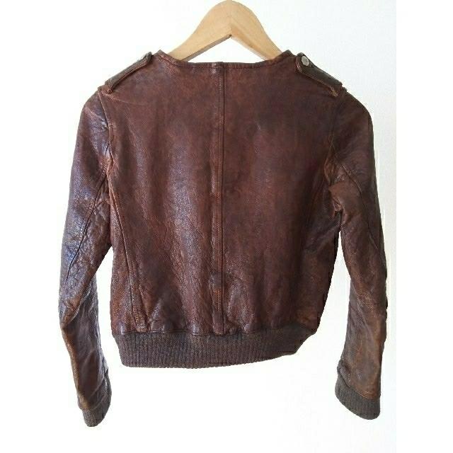 Edition(エディション)のEdition エディション 革ジャン ラムレザー ブラウン レディース レディースのジャケット/アウター(ノーカラージャケット)の商品写真