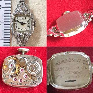 Hamilton - ハミルトン  アンティーク 手巻き 時計 ダイヤ プラチナ k14
