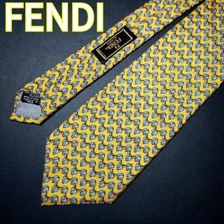 フェンディ(FENDI)の【極美品】FENDI 総柄 ネクタイ イエロー(ネクタイ)