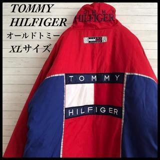 トミーヒルフィガー(TOMMY HILFIGER)の【鬼レア】トミーヒルフィガー ☆ビック刺繍ロゴ ダウンジャケット 90s 古着(ダウンジャケット)