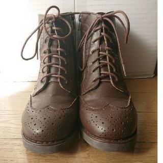 サマンサモスモス(SM2)のSM2 ウィングチップレースアップショートブーツ (焦げ茶)(ブーツ)
