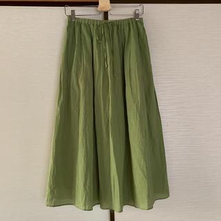 シャンブルドゥシャーム(chambre de charme)のKARINE relacher グリーン 若草色 コットンロングスカート(ロングスカート)