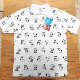 ピーナッツ(PEANUTS)の新品タグ付き 白 総柄 スヌーピー ポロシャツ(ポロシャツ)