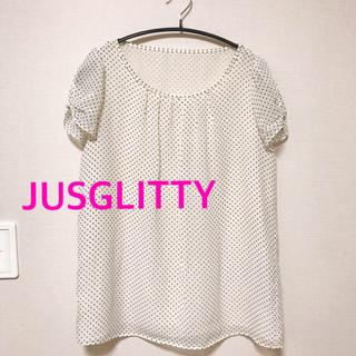 JUSGLITTY - 夏の最後の格安出品★ジャスグリッティーの水玉ブラウス